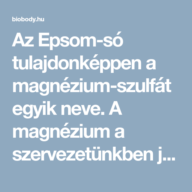 magnézium-szulfát a fogyáshoz)